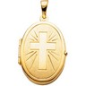Oval Shaped Locket with Cross 22 x 17mm Ref 426251